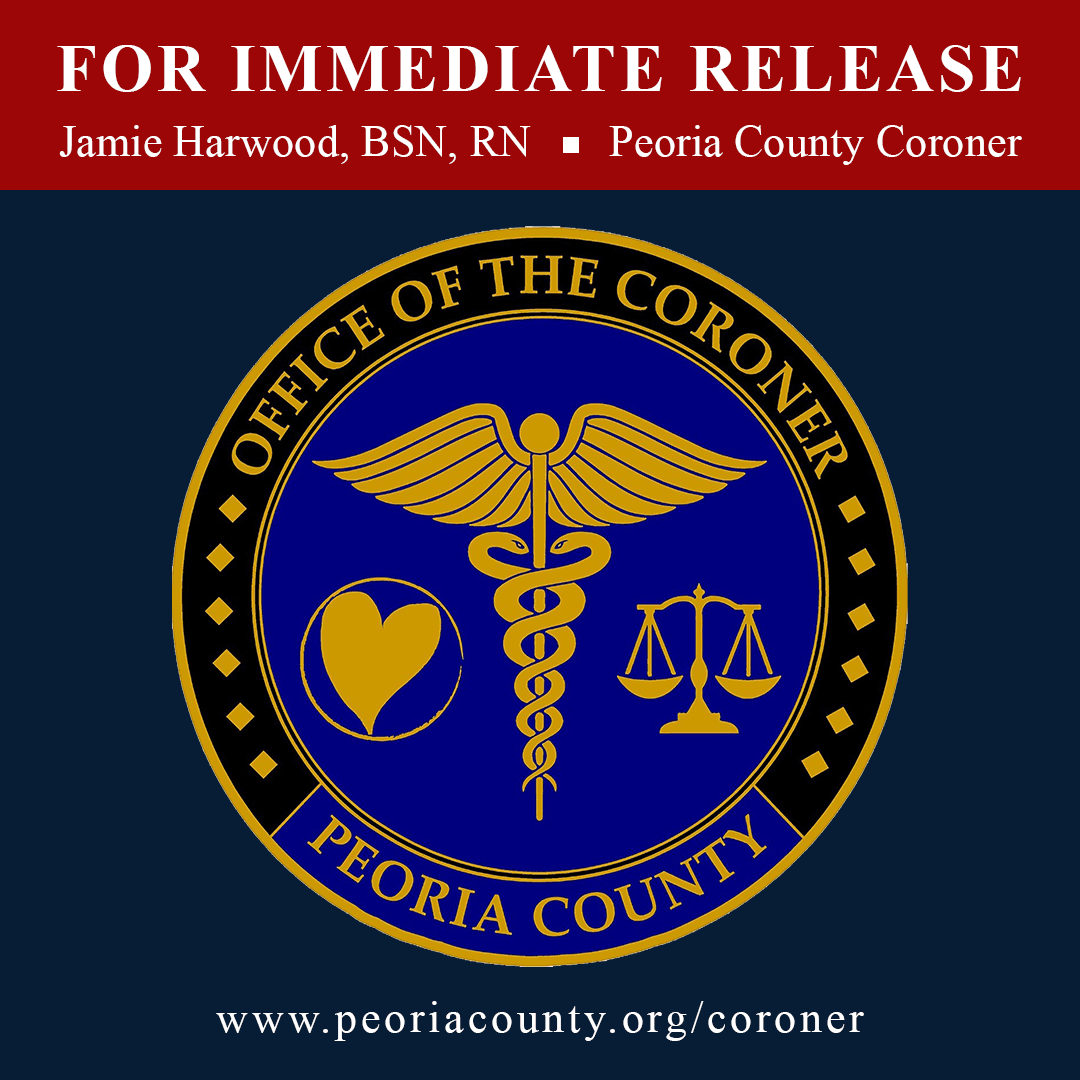 Square press release graphic with Peoria County Coroner logo